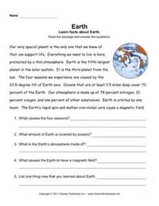 earth comprehension instant worksheets