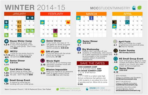 Youth Ministry Calendar Template by Marin Covenant Church