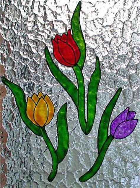 free craft project glass paint tulips window clings