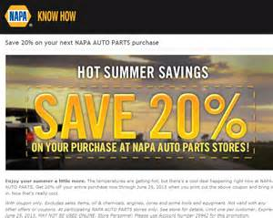 Auto Parts Store Deals Napa Auto Parts Coupons 20 At Napa Auto Parts