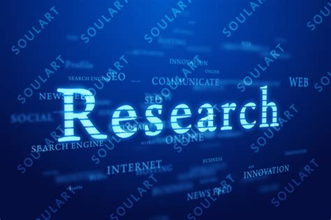 background research research words cloud on deep blue background by