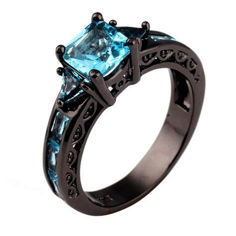 Black Ring 01 Black size 6 7 8 9 10 classical jewelry princess cut aquamarine