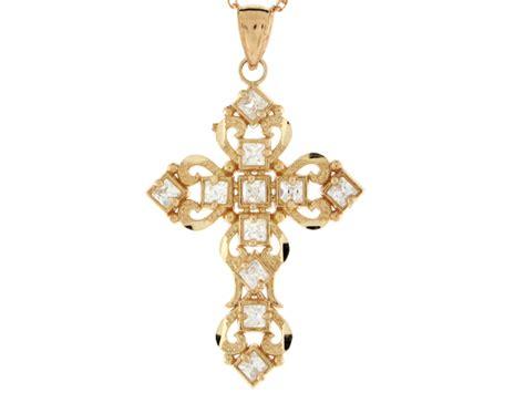 religious charms for jewelry 10k 14k gold filigree cross religious christian catholic