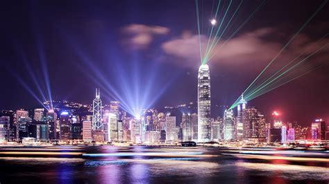 hong kong light lights hong kong city skyline citynight light beams