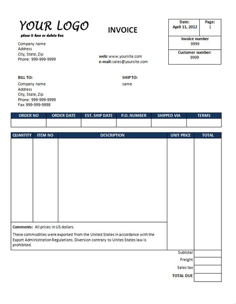 free sales invoice template download