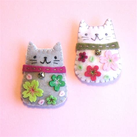 Handmade Felt Craft Patterns - handmade felt magnets cherry blossom cats 15 00 via