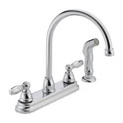 delta faucet p299575lf apex 2 handle side sprayer kitchen