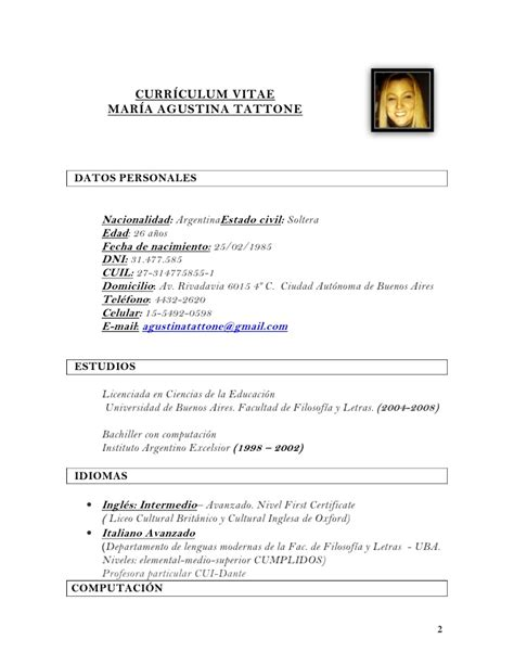 Modelo Curriculum Britanico Cv Tattone