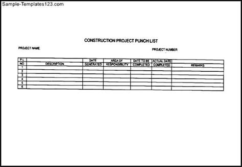 construction punch list template excel commercial construction punch list template sle templates