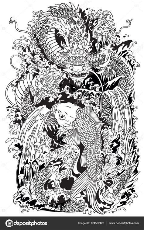 tattoo carpe koi noir et blanc koi carp fish and dragon gate black and white