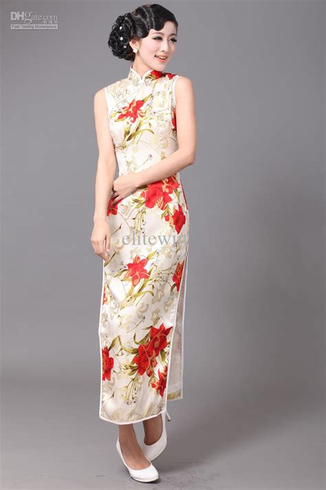 Dress 41345 Flower With Slit S M L two styles slim 95 silk flower wash