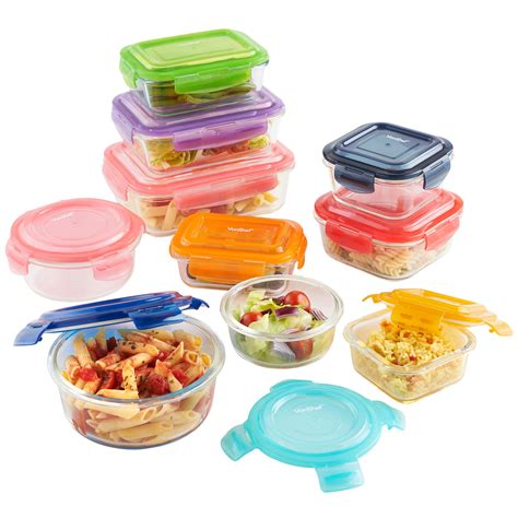 Multi Keeper Tupperware vonshef 10pc multi coloured glass storage container