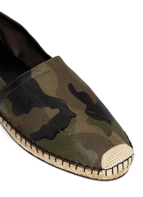 Camouflage Slip Ons valentino camouflage print espadrille slip ons in green