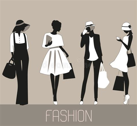 fashion illustration silhouettes silhouettes of fashion stock vector illustration