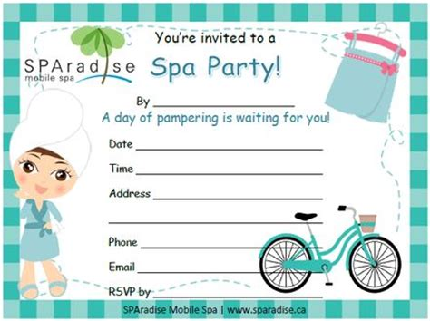 free printable birthday invitations spa theme 22 best spa party printables images on pinterest mobile
