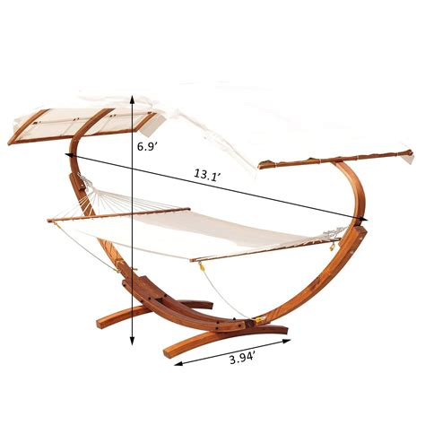 Hammock Bed Stand Outsunny 2 Person Wood Swing Arc Hammock Bed And Stand Set
