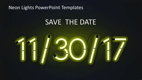 Neon Lights Powerpoint Templates Slidemodel Save The Date Powerpoint Template Free