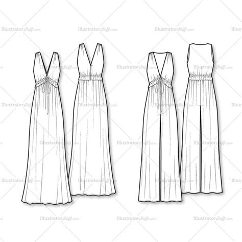 dress sketch template 70 s vibe jumpsuit maxi dress flat template illustrator