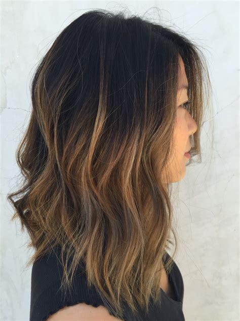 umbre angled bob hair cuts textured lob caramel ombre cena jordan hair