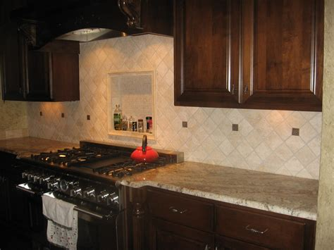 stone tile kitchen backsplash contemporary kitchen design with open storage brown