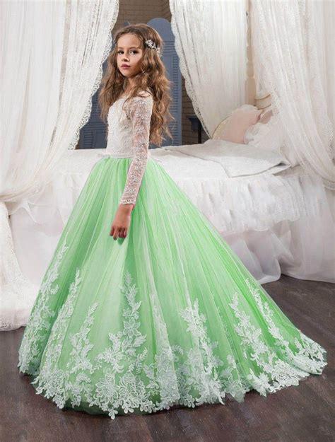 Kid Dress Lace applique flower dresses lace princess pageant dresses