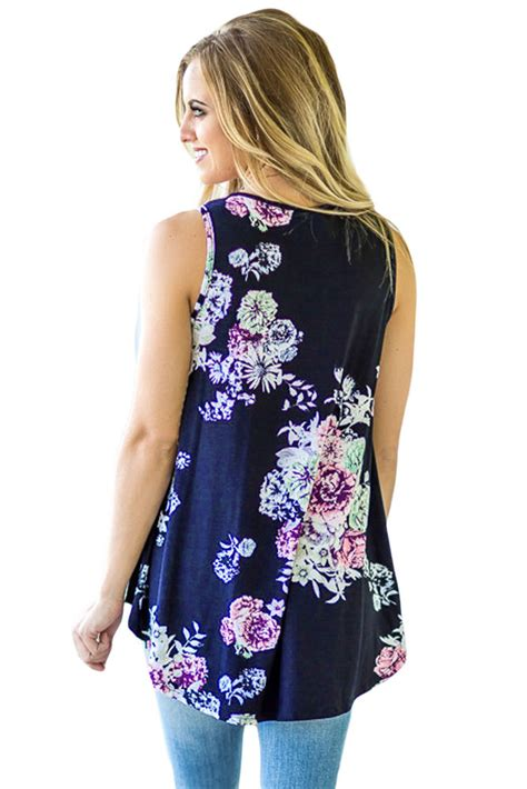 Navy Blue High Neck Blouse by Navy Blue Floral Print High Neck Tank Top For