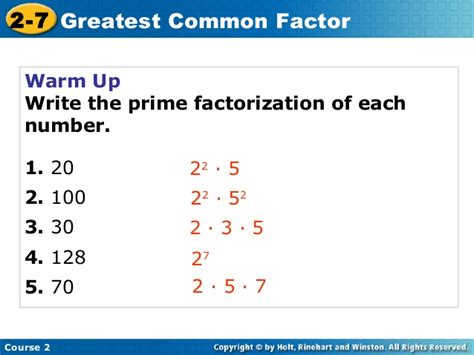 greatest common factors