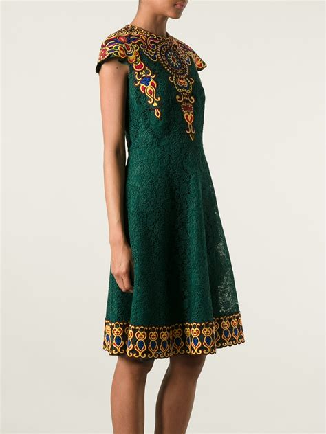 Lace Embroidered Dress lyst valentino embroidered floral lace dress in green