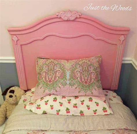 pretty in pink painted headboard using a paint sprayer