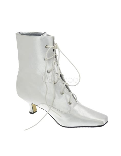 white wedding ankle boots white satin lace front ankle high wedding boots milanoo