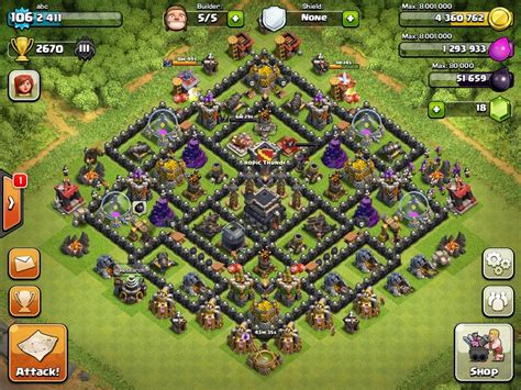 layout of coc top 10 clash of clans town hall level 9 defense base design