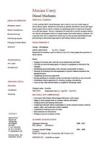 Diesel Mechanic Resume Objective by Diesel Mechanic Resume Exle Sle Vehicles Cars Repair Employment