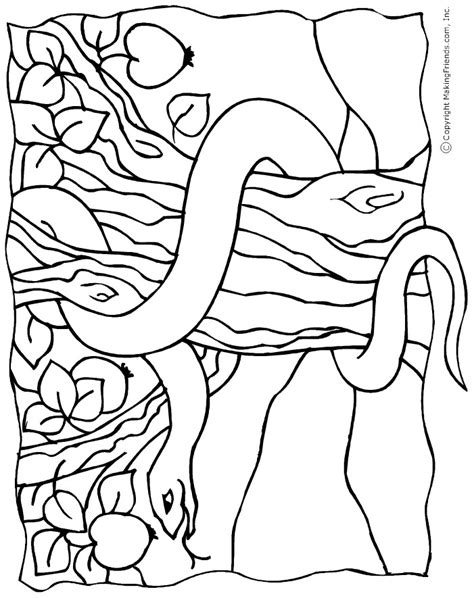 coloring page of the garden of eden snake in the garden of eden coloring page