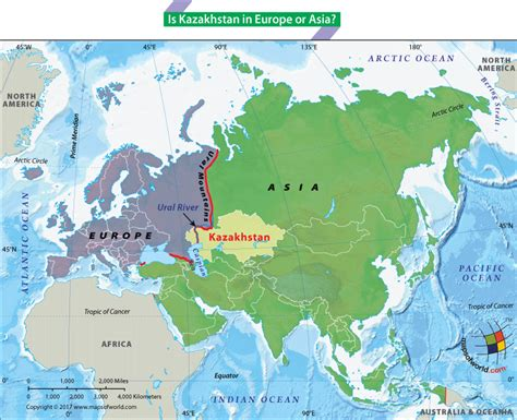 map of europe and asia is kazakhstan in europe or asia answers