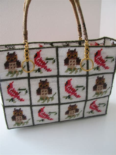 Handmade Totes For Sale - for sale vintage handmade plastic canvas owl cardinal
