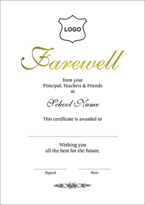 farewell certificate template certificates a4 size farewell a4