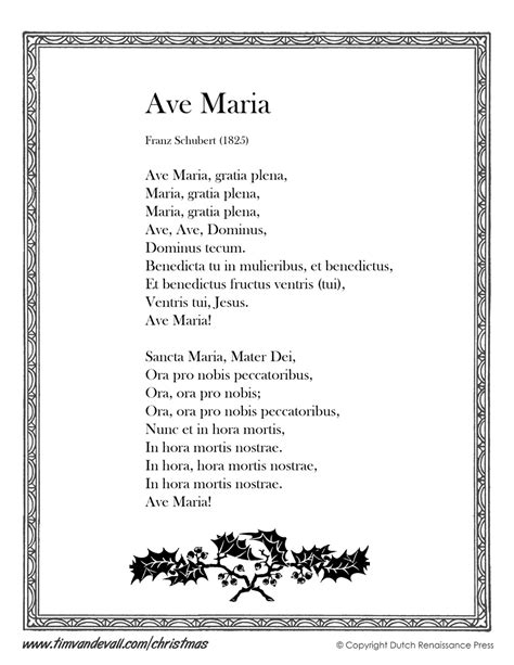 testo ave schubert ave lyrics printable lyrics