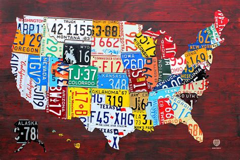 usa map license plates license plate map of the usa edition 14 by design
