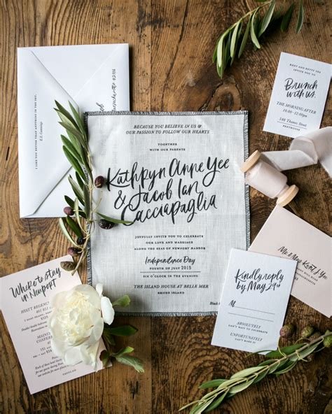 modern calligraphy fabric wedding invitations