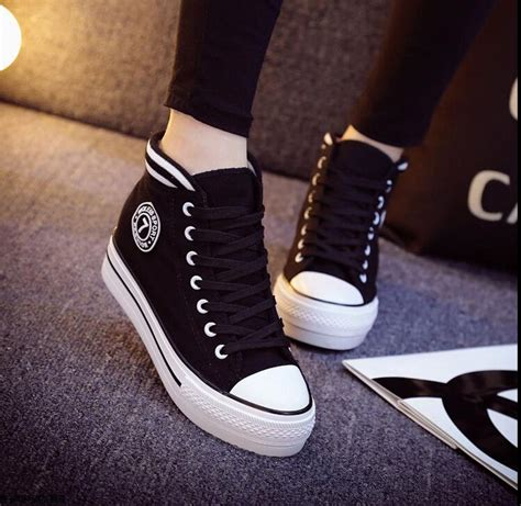 Heels Boot Korea Gds 284 2015 new korean s high top lace up platform casual canvas sneakers shoes ebay