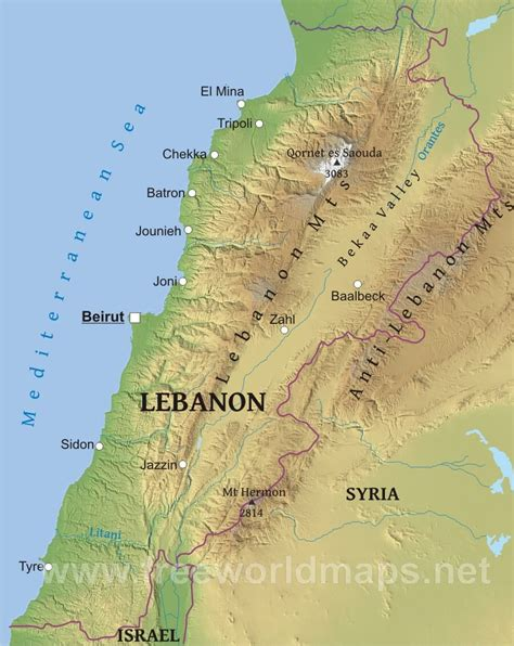 physical map of lebanon lebanon physical map