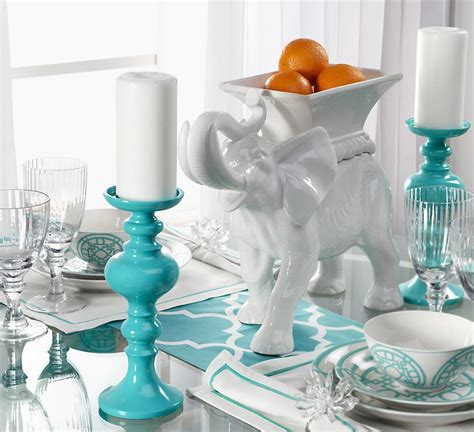 white elephant with turquoise table setting 22 bond st