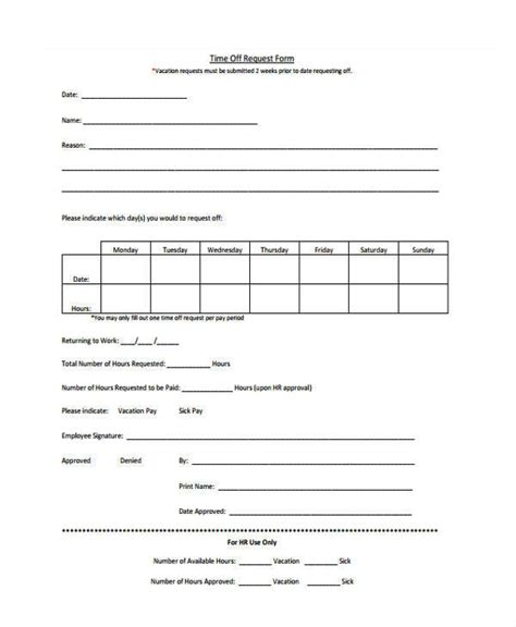 Time Request Template by 25 Time Request Forms In Pdf Sle Templates
