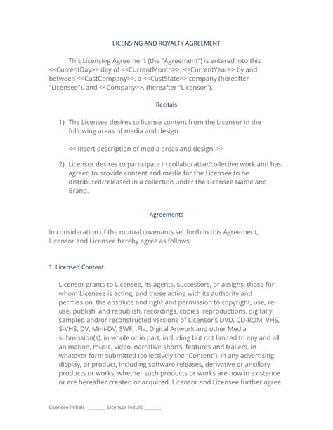 Software License And Royalty Agreement Product Royalty Agreement Template
