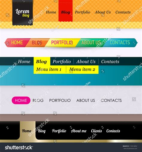 horizontal menu templates set of 5 horizontal navigation menu bars web design