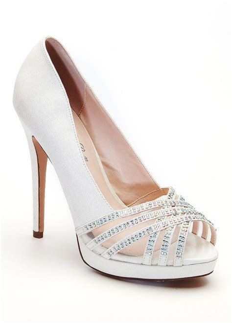 Wedding Shoes With Heel Detail by David S Bridal Wedding Bridesmaid Shoes Peep Toe Heel