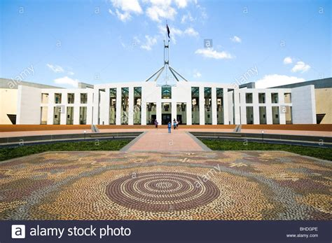 who designed the houses of parliament the front of parliament house featuring an aboriginal tiled design stock photo