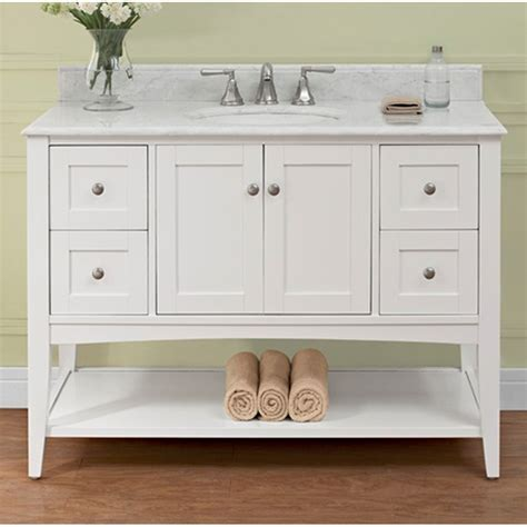 white bathroom vanity 48 fairmont designs shaker americana 48 quot vanity open shelf