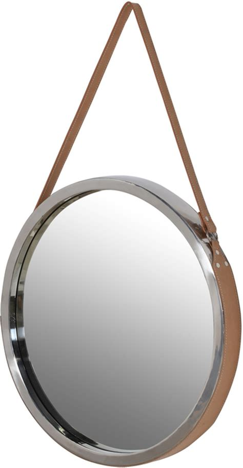 Round Mirror With Leather Strap   Mirrors