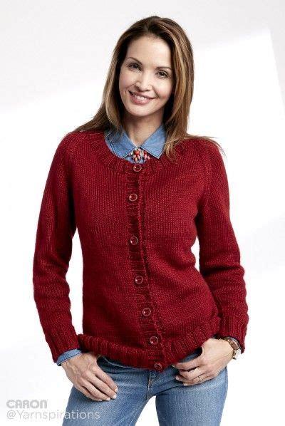 O Neck Simply Soft knit crew neck cardigan patterns yarnspirations caron simply soft yarnspirations